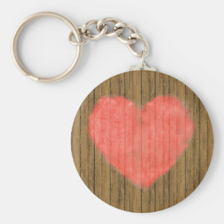 Heart Drawing in Wood Wall Key Ring
