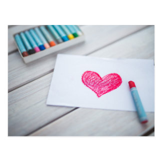 Heart Drawing on a Note Postcard