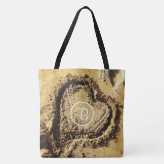 Heart drawn in golden sand photo custom monogram tote bag