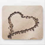 Heart Drawn in Sand at Beach - Customised Template Mouse Pads