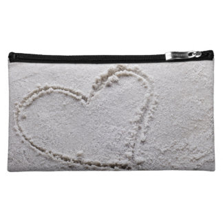 Heart Drawn in Sand at Beach Customized Template Makeup Bags