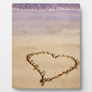 Heart Drawn in Sand at Beach - Customized Template Plaque