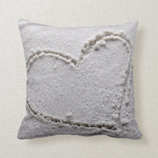 Heart Drawn in Sand at Beach - Customized Template Throw Pillow