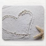 Heart Drawn in Sand at Beach w Starfish Template