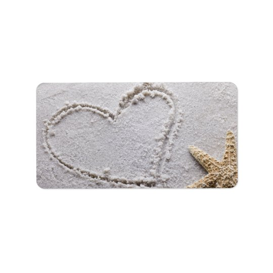 Heart Drawn in Sand at Beach w Starfish Template Label
