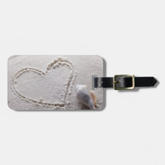 Heart Drawn in Sand at Beach w Starfish Template Luggage Tag