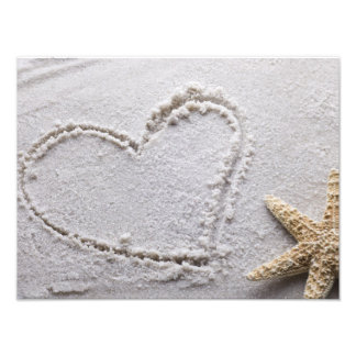 Heart Drawn in Sand at Beach w Starfish Template Photo Print