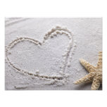 Heart Drawn in Sand at Beach w Starfish Template Photographic Print