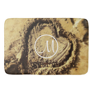Heart drawn in sand photo custom monogram bath mat