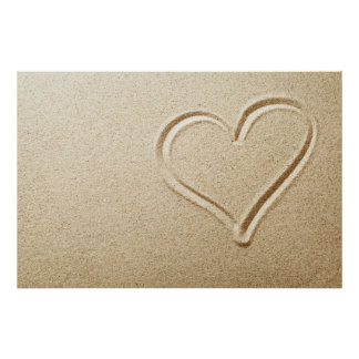 Heart Drawn In The Sand Poster
