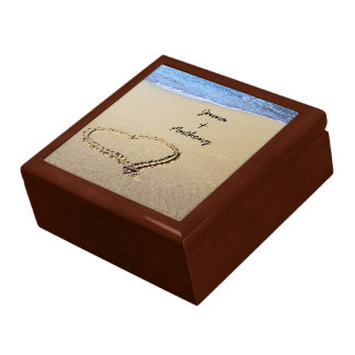 Heart Drawn in the Sand template Large Square Gift Box