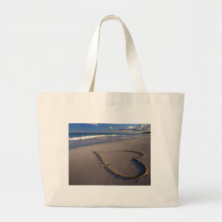 Heart Drawn on the Beach Jumbo Tote Bag