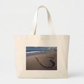Heart Drawn on the Beach Bag