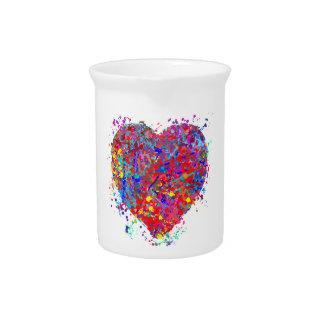 Heart, Drip Art Beverage Pitcher