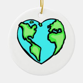 Heart Earth Christmas Ornament