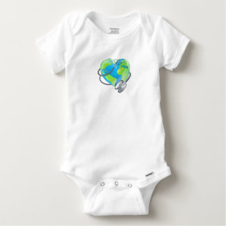 Heart Earth World Globe Stethoscope Health Concept Baby Onesie