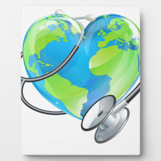 Heart Earth World Globe Stethoscope Health Concept Plaque