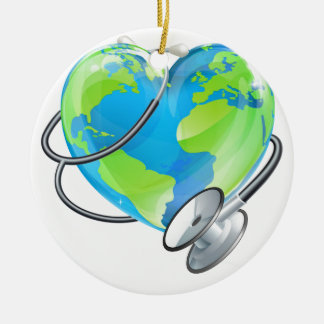 Heart Earth World Globe Stethoscope Health Concept Round Ceramic Decoration