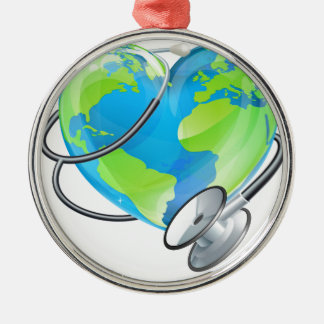 Heart Earth World Globe Stethoscope Health Concept Silver-Colored Round Decoration