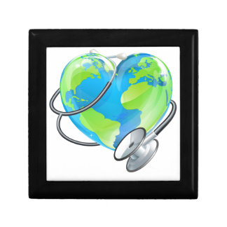 Heart Earth World Globe Stethoscope Health Concept Small Square Gift Box