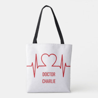 Heart EKG custom name & occupation bags