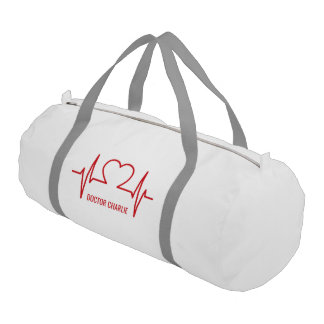 Heart EKG custom name & occupation duffle bag