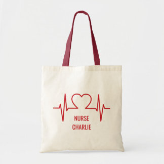 Heart EKG custom name & occupation tote bags