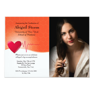 Heart Electrocardiogram Photo Graduation Inv 13 Cm X 18 Cm Invitation Card