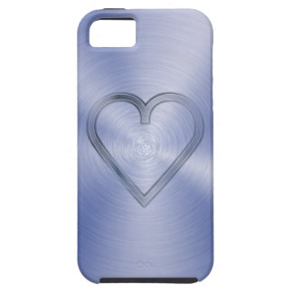 Heart engraved in cobalt blue steel plate case for the iPhone 5