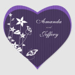Heart Envelope Seal   Purple Flower Butterfly Heart Sticker