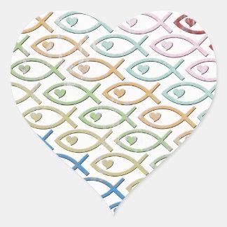 HEART-EYED JESUS FISH HEART STICKER
