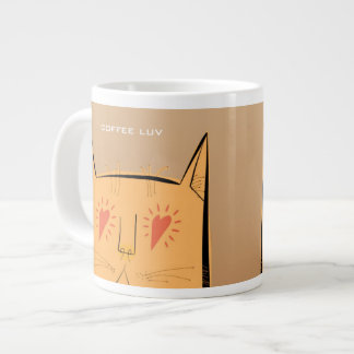 Heart eyes coffee luv cat jumbo mug