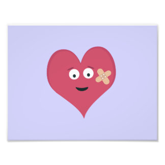 Heart face with patch photo print