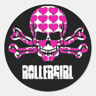 heart-filled skull round sticker
