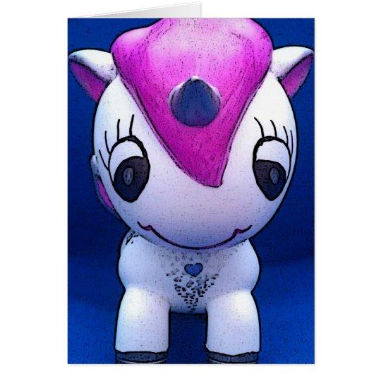 """Heart Fire"" cute pink unicorn birthday card"