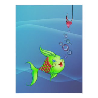 HEART FISH, BUBBLES & HOOK by SHARON SHARPE Poster