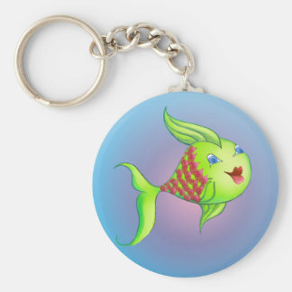 HEART FISH by SHARON SHARPE Basic Round Button Key Ring