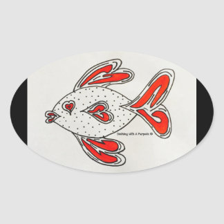 """""""Heart Fish"""" Oval Stickers"""
