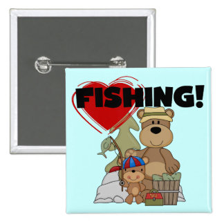 HEART Fishing Tshirts and Gifts 15 Cm Square Badge