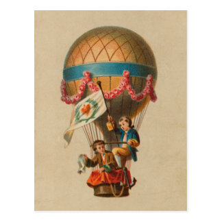 Heart Flag Hot Air Balloon Postcard