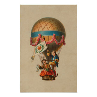 Heart Flag Hot Air Balloon Poster