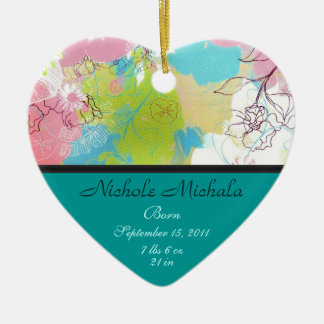 Heart Floral Birth Announcement Keepsake Christmas Ornament