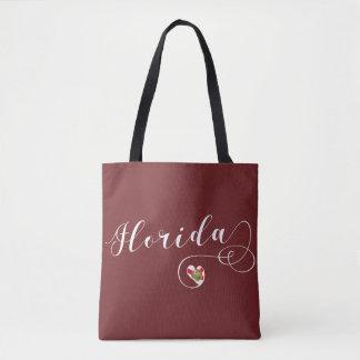 Heart Florida Grocery Bag, Floridian Tote Bag