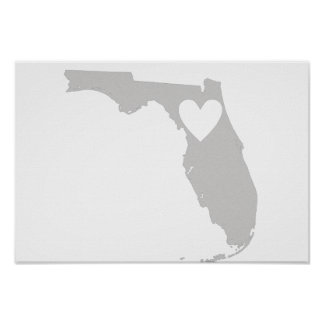 Heart Florida state silhouette Posters