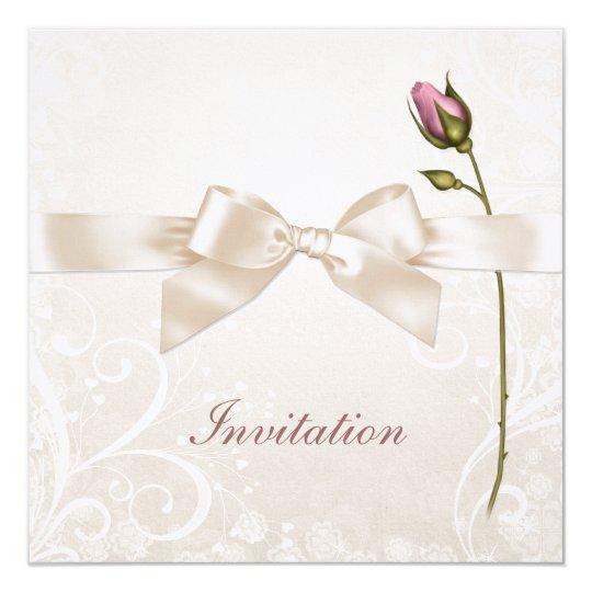 Heart Flourish Rose Wedding Invitation