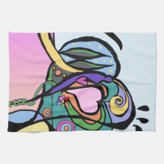 Heart flow Modern art Tea Towel