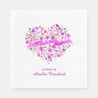 Heart flower bouquet purple bridal shower napkins standard luncheon napkin