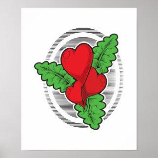 Heart Flower Tattoo Design Poster