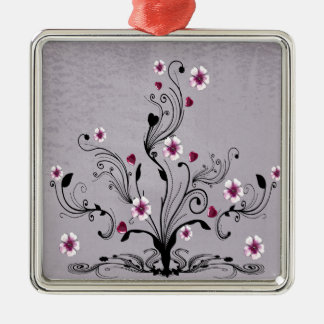 heart flower tree design art Silver-Colored square decoration