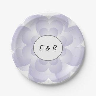 Heart Flower Wedding Lavender Paper Plate